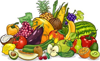 Znalezione obrazy dla zapytania obrazki owoce i warzywa w koszu