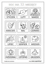 Kolorowanki Kalendarz Superkid