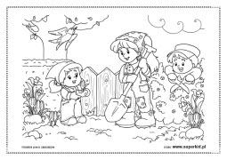 Wiosenne porządki w ogrodzie kolorowanki