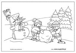 Kolorowanki Zima I Zabawy Zimowe Superkid